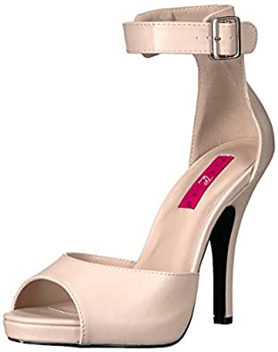 Pleaser Pink Label Damen Eve-04 Slingback Sandalen, Schwarz (Blk Faux Leather), 43 EU