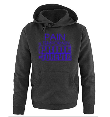 Comedy Shirts - PAIN is TEMPORARY... - Uomo Hoodie cappuccio sweater - taglia S-XXL different colors nero / azzurro