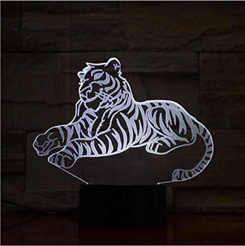 er 3D Illusion Nachtlicht, Touch Button Tisch Schreibtischlampe Mit 7 Farben Licht Für Weihnachten Halloween Geburtstagsgeschenk Gift Tiger) ()