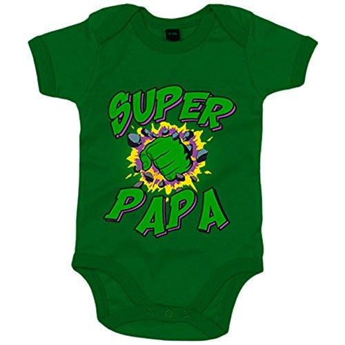 Body bebé Súper Papá Hulk puño - Verde, 6-12 meses