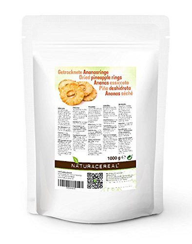 Pineapple Rings - 1kg - NATURACEREAL - Dried Whole Pineapple Rings - Delicious Sweetened Pineapple Rings With The Taste of The Tropics Test