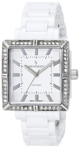Peugeot Women's PS4903WT Swiss Ceramic Swarovski Crystal White Dial Watch