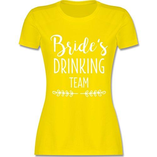 JGA Junggesellinnenabschied - Bride's Drinking Team - L - Lemon Gelb - L191 - Damen T-Shirt Rundhals