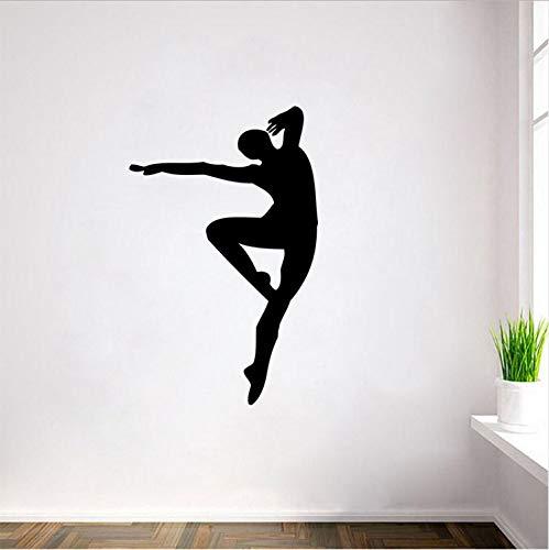 Tanzen Silhouette Vinyl Wandkunst Aufkleber Aufkleber Für Room Dance Studio School Wohnzimmer Kinderzimmer Dekoration 56X88 cm
