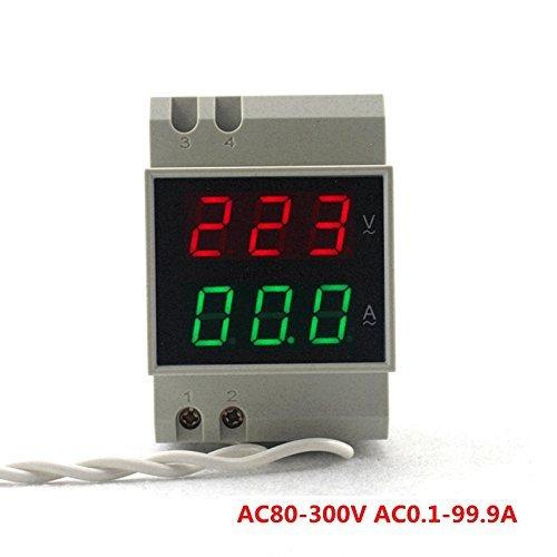 ketotek Digital carril Din tensión amperímetro medidor de Monitor de Corriente Rojo Verde LED Dual pantalla multímetro amperímetro Gauge AC 80–300V 0,1–99,9un Micro AC Volt Amp Meter