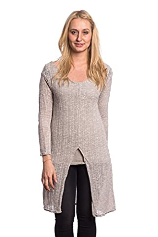 Abbino 9175 Fine-Knit Sweaters for Woman Girl - Made in Italy - 5 Colours - Transition Spring Summer Autumn Woman Fashion Scoop Neck Casual Pullover Sweater Top Sexy Delicate Sale - Beige