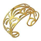Adamello acero inoxidable brazalete de palmeras para mujer de acero chapado en oro brazalete para mujer joyas ESAS54Y