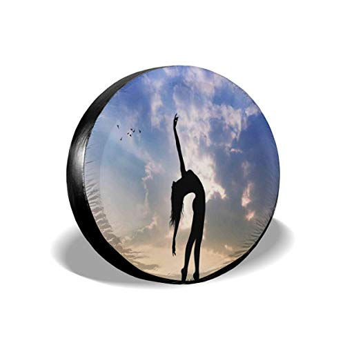 ErwangGo Tire Cover Wheel Covers,Silhouette of Girl Dancing In Nature Sunset Relaxing Outdoors Activity Concept,for SUV Truck Camper Travel Trailer Accessories(14,15,16,17 Inch) 15 -