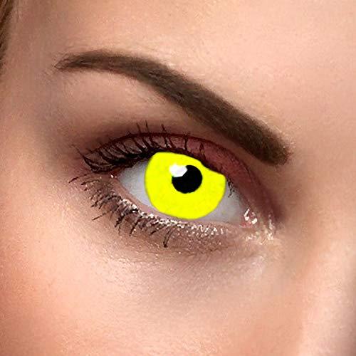 Farbige Kontaktlinsen crazy Gelb Avatar gelbe Kontaktlinsen farbig ohne Stärke mit Kontaktlinsenbehälter Karneval Halloween Fasching