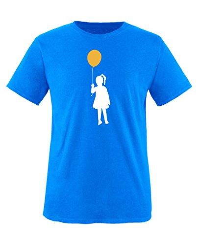 Comedy Shirts - Ballon Mädchen - Jungen T-Shirt - Royalblau/Weiss-Gelb Gr. 152/164