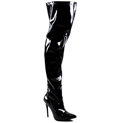 Stiletto Bout Pointu De La Mode Des Femmes Allongent Haut Talon Cuisse Hautes Bottes Noir Shiney