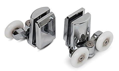 Kenley Stainless Steel Shower Door Twin Rollers Runners – Set of 4 - Top & Bottom
