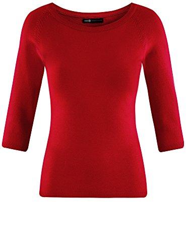oodji Collection Damen Pullover Basic mit 3/4-Ärmeln Rot (4500N)