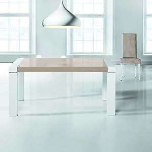 RUIZ Y SANCHEZ TABLE MIKONOS Modèle 140cm avec PLATEAU VERRE COLLE SUR BOIS extensible 230cm Finition GRIS CENDRé avec VERRE MOKA