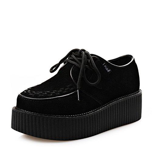 RoseG Zapatos Cordones Plataforma Gótico Punk Ante Creepers Mujer Negro Size40