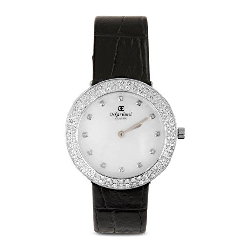 Oskar Emil Women'sQuartz Watch with White Dial Analogue Display and Black Leather Strap Juliette White