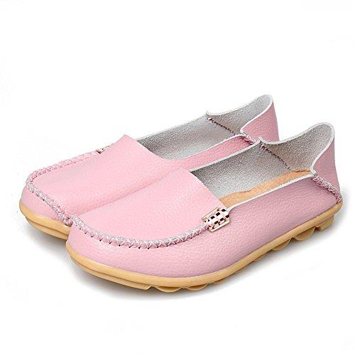 Cczz Mocassins Femmes Conduite Chaussures Mode Chaussures En Cuir Confortable Penny Mocassins Rose