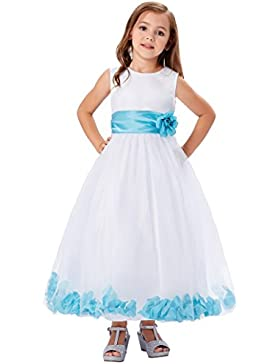 Grace Karin® Niñas Vestido Elegante de Flores Para Fiesta Boda Bautizo Vestido Blanco de Princesa para Dama de...