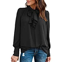 Sweatshirt Damen Kolylong® Frauen Elegant Business Chiffon Blusen Vintage  Einfarbig Langarm Shirt Festlich Oberteile Bluse 7d5e2fa272