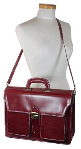 taschenTrend - Mascali Aktentasche Lehrertasche Business Bags Glattleder XXL Aktenkoffer DIN-A4 Leder Taschen Damen Herren Umhängetaschen Messenger 12 - 15 Zoll UNISEX 40x28x14,5 cm (B x H x T) Rot