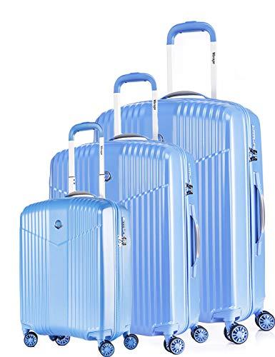 LEICHTGEWICHT Hartschale Reisekoffer 3er SET TSA integriert S-19'(37L)+M-24'(66L)+L-28'(97L) von Verage V-LITE, 4 Rollen ABS/PC Junge Trolley (Blau) mit...
