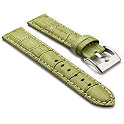 StrapsCo Premium Green Croc Embossed Leather Watch Strap size 30mm