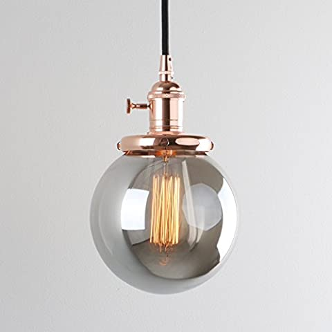 Pathson Industrial Vintage Modern Pendant Light Loft Bar Kitchen Island Hanging Ceiling Lamp Fixture Chandelier with Globe Smoke Gray Glass Lampshade E27 (Copper)