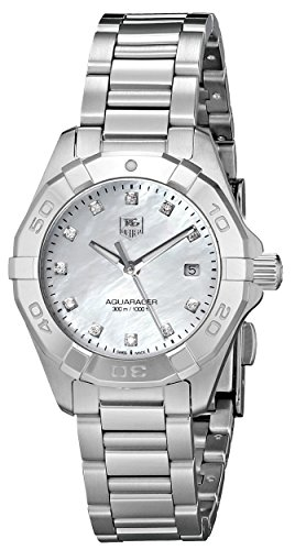 Tag Heuer Aquaracer300 WAY1413.BA0920 28mm Diamonds Silver Steel Bracelet & Case Anti-Reflective Sapphire Women's Watch