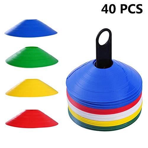 Sanmubo 40 Pack Fußballkegel Disc Field Cone Marker für Agility Training Fußball für Kid Pro Disc Cones Trainingszubehör Hindernisse -