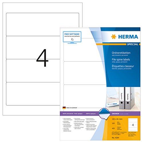 HERMA 4284 Ordnerrücken Etiketten DIN A4 blickdicht, kurz/breit (192 x 61 mm, 100 Blatt, Papier, matt) selbstklebend, bedruckbar, permanent haftende Ordneretiketten, 400 Rückenschilder, weiß