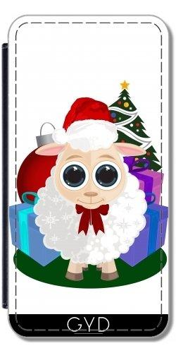 Leder Flip Case Tasche Hülle für Apple iPhone 5/5S - Christmas - Schafe by Adamzworld Lederoptik