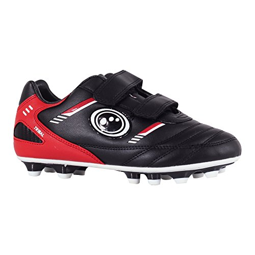 Optimum Tribal Moulded Stud, Boys Football Boots, Black / Red, 9 UK (27 EU)