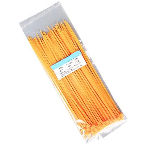 Providethebest 100pcs / Bag Selbsthemmend Nylon Draht Kunststoff-Netzwerkkabel mit Reißverschluss Mietleitungsbelegung Bundles Wrap-BügelOrange