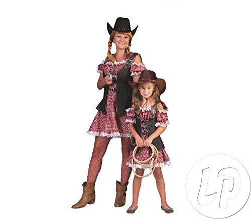 Cowgirl Nathalie Kleid Kurz für Damen Gr. 40 42 - Tolles Wild West (Kostüme West Cowgirl Wild)
