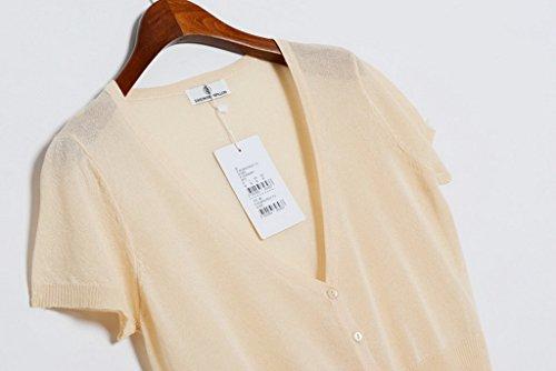 Smile YKK Cardigan Uni Couleur Bonbon Manches Courtes de Soleil de Beach Pour Femme Abricot