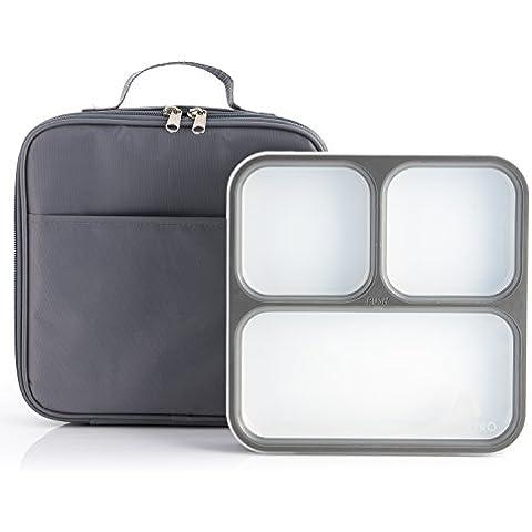 Caja de Almuerzo Bento - 3 Compartimientos a prueba de fuga de control de porciones - Incluye bolsa de almuerzo a juego con aislamiento para adulto – Contenedor de caja de almuerzo ultra