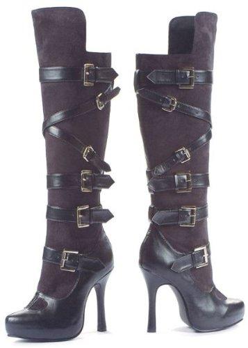 Leg Avenue 5027 - Bandit 4.5 Zoll Kunstleder und Mikrofaser Stiefel, Größe 6, schwarz