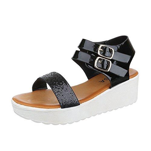 Komfortsandalen Damen Schuhe Römersandalen Keilabsatz/ Wedge Keilabsatz Schnalle Ital-Design Sandalen / Sandaletten Schwarz