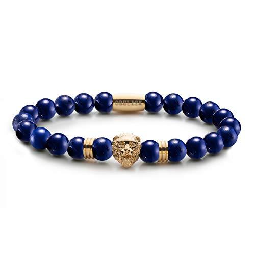 Obelizk Exklusiv Lion Armband für Männer Gold  Löwenkopf Bracelet mit dunkelblauen Lapislazuli Perlen Geschenk Schmuckbox+ Luxury Accessories Guide (Blau Und Gold Perlen)