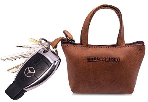 Hill Burry Echt-Leder Schlüsseletui   Schlüsselmappe - Taschenanhänger   Schlüsseltasche - Schlüsselanhänger - Mini Börse   Schlüssel-Taschen-Anhänger   Portemonnaie - Portmonee (Braun)