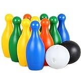 Großes Kegelspiel Bowling kugel Spielzeug Spiele Draussen Gartenspielzeug für Kinder ab 3 4 5 Jahren (12-teilig)