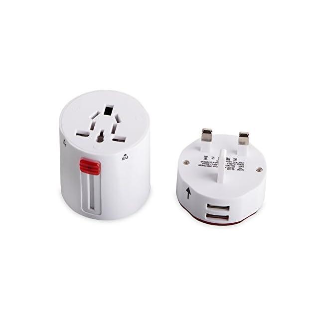 Voyage de adaptateur MILOOL US UK UE AU 110V à 240V Rotating international plug chargeur mural avec des ports USB de recharge double pour votre voyage (blanc)