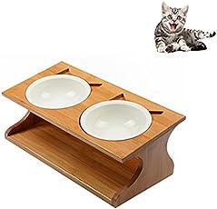 Petacc Katzennäpf Keramik Hundenäpf Hoch Futternäpfe für Katzen und Welpe mit Massivholz Ständer