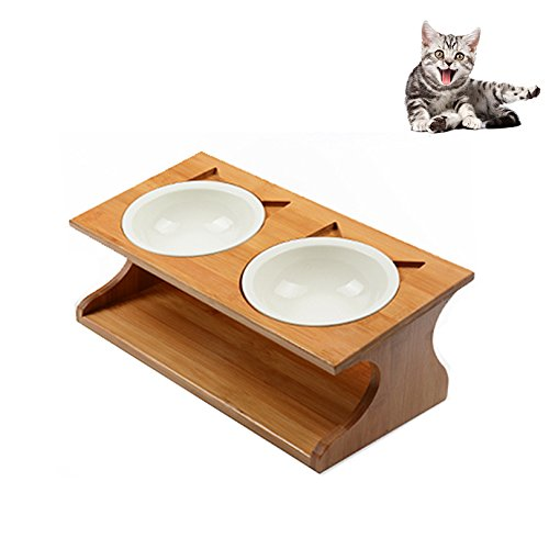 Petacc Katzennäpf Keramik Hundenäpf Hoch Futternäpfe für Katzen und Welpe mit Massivholz Ständer (35*17.5*12cm)