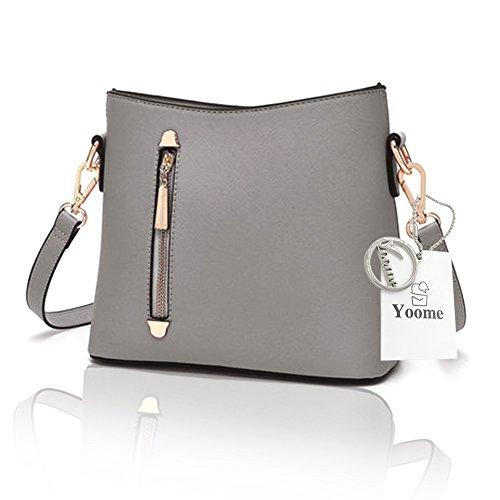 Sacchetti alla moda di grande capacità Yoome Cross modello per le donne borse dell'annata per le ragazze sacchetto di sacchetto di trucco - rosso Grigio