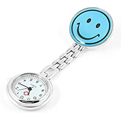 Gleader Portable Nurse Nursing Blue Smile Pattern Clip Chain Watch