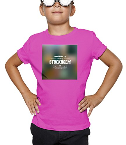 Billion Group | Welcome Stockholm Sweden | City Collection | Boys Classic Crew Neck T-Shirt Pink