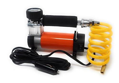 Compresor de Aire con manómetro para inflar ruedas coche, moto Naranja Mechero