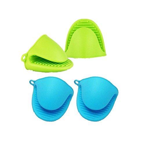 GSY Silikon-Topflappen / Mini-Ofenhandschuh, hitzebeständig, Set mit 2 Stück, bunt, blau, silicone gloves001