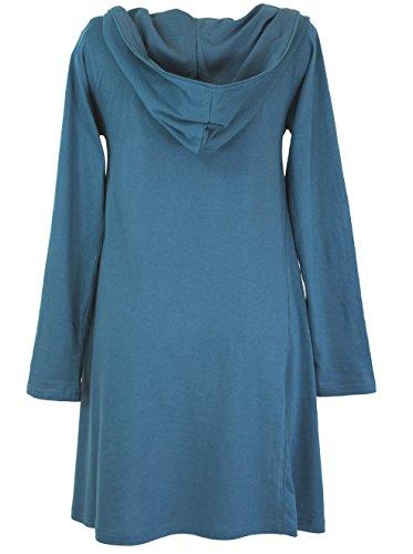 Guru-Shop Minikleid mit Schalkragen, Damen, Baumwolle, Kurze Kleider Alternative Bekleidung Majolica